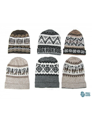 Skull beanie cap with andean design